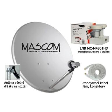 Satelitní parabola Mascom OP-VJ2 + LNB monoblock + kabel koax