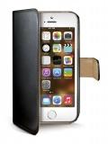 Pouzdro na mobil flipové Celly Wally pro iPhone 5/5s/SE - černé