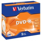 Disk Verbatim DVD-R 4,7GB, 16x, jewel box, 5ks