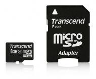 Paměťová karta Transcend MicroSDHC 8GB Class4 + adapter