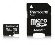 Paměťová karta Transcend MicroSDHC 16GB UHS-I U1 (90MB/s) + adapter