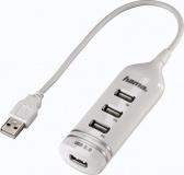 USB Hub Hama USB 2.0 / 4x USB 2.0 - bílý