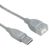 Kabel Hama USB, 3m, prodlužovací - šedý