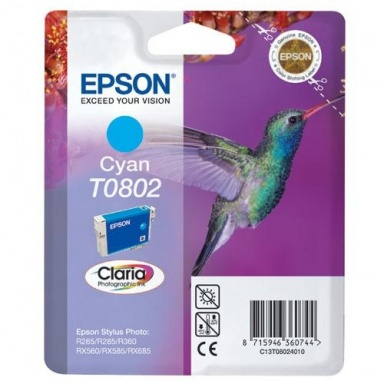 Inkoustová náplň Epson T0802, 7,4ml  originální - modrá