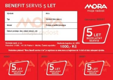 Mora Benefit – 5let bezplatný servis