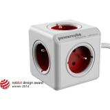 Kabel prodlužovací Powercube Extended, 5x zásuvka, 1,5m - bílý/červený