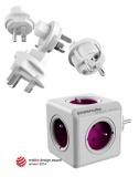 Cestovní adaptér Powercube ReWirable + Travel Plugs - bílá