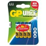 Baterie alkalická GP Ultra Plus AAA, blistr 4ks