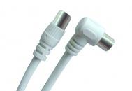 Koaxiální kabel GoGEN 5m, pozlacený, opletený, feritový filtr, 90° úhlový konektor - černý