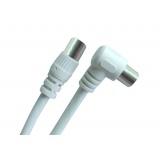 Koaxiální kabel GoGEN 10m, 90° úhlový konektor - bílý