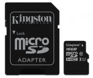 Paměťová karta Kingston MicroSDHC 16GB UHS-I U1 (45R/10W) + adapter