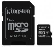 Paměťová karta Kingston MicroSDHC 32GB UHS-I U1 (45R/10W) + adapter