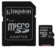 Paměťová karta Kingston MicroSDXC 64GB UHS-I U1 (45R/10W) + adapter