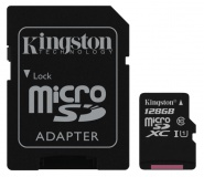 Paměťová karta Kingston MicroSDXC 128GB UHS-I U1 (45R/10W) + adapter