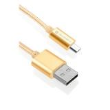 Kabel GoGEN MicroUSB, 1m, oplétáný - zlatý