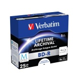 Disk Verbatim BD-R M-Disc 25GB, 4x, printable, jewel box, 5ks