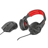 Herní set Trust GXT 784 headset + myš - černý/červený