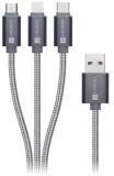 Kabel Connect IT Wirez 3in1 USB/USB-C + MicroUSB + Lightning, 1,2m - stříbrný