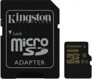 Paměťová karta Kingston MicroSDHC 16GB UHS-I U3 (90R/45W) + SD adapter