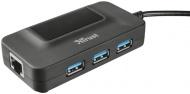 USB Hub Trust USB 3.0 / 3x USB 3.0 + LAN - černý