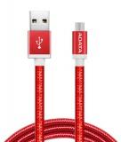 Kabel ADATA USB/micro USB, 1m, pletený - červený