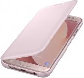 Pouzdro na mobil flipové Samsung Wallet Cover na J7 2017 (EF-WJ730C) - růžové