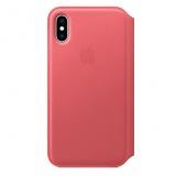 Pouzdro na mobil flipové Apple Leather Folio pro iPhone Xs - pivoňkově růžové