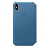 Pouzdro na mobil flipové Apple Leather Folio na iPhone Xs Max - modrošedé