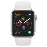 Chytré hodinky Apple Watch Series 4 GPS 40mm pouzdro ze stříbrného hliníku - bílý sportovní řemínek CZ verze