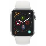 Chytré hodinky Apple Watch Series 4 GPS 44mm pouzdro ze stříbrného hliníku - bílý sportovní řemínek CZ verze
