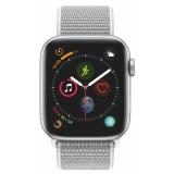 Chytré hodinky Apple Watch Series 4 GPS 44mm pouzdro ze stříbrného hliníku - mušlově bílý provlékací sportovní řemínek CZ verze