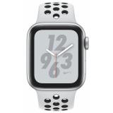 Chytré hodinky Apple Watch Nike+ Series 4 GPS 40mm pouzdro ze stříbrného hliníku - platinový/černý sportovní řemínek Nike
