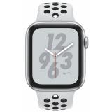 Chytré hodinky Apple Watch Nike+ Series 4 GPS 44mm pouzdro ze stříbrného hliníku - platinový/černý sportovní řemínek Nike