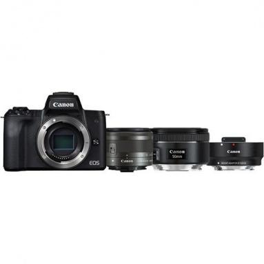 CSC fotoaparát Canon EOS M50 + M 15-45 IS STM + obj. 50/1.8 + ADAPTER