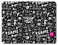 Podložka pod myš Connect IT Doodle malá, 32 x 26 cm - černá/bílá
