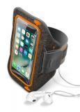 """Pouzdro na mobil sportovní CellularLine Armband Strong Summer Edition, do velikosti 5,2"""" - šedé/oranžové"""