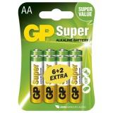 Baterie alkalická GP Super AA, LR06, blistr 6+2ks