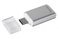 Hama čtečka karet USB 3.1 typ C, OTG , microSD, stříbrná