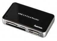 Hama multi čtečka karet USB 3.0 All in One,  černá/ stříbrná
