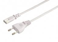 Kabel Hama síťový napájecí 2pólová vidlice, 1,5 m - bílý