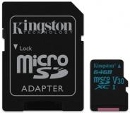 Paměťová karta Kingston Canvas Go! MicroSDXC 64GB UHS-I U3 (90R/45W) + adapter