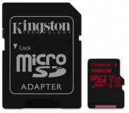Paměťová karta Kingston Canvas React microSDXC 128GB UHS-I U3 (100R/80W) + adaptér