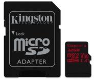 Paměťová karta Kingston Canvas React microSDHC 32GB UHS-I U3 (100R/70W) + adaptér