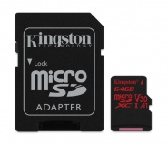 Paměťová karta Kingston Canvas React microSDXC 64GB UHS-I U3 (100R/80W) + adaptér