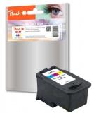 Inkoustová náplň Peach Canon CL-511,385 stran, kompatibilní - červená/modrá/žlutá