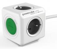 Kabel prodlužovací Powercube Extended Switch, 4x zásuvka, 1,5m - šedý/bílý/zelený