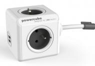 Kabel prodlužovací Powercube Extended USB, 4x zásuvka, 2x USB, 3m - bílý