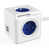 Kabel prodlužovací Powercube Extended USB, 4x zásuvka, 2x USB, 1,5m - bílý/modrý