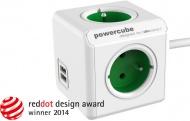 Kabel prodlužovací Powercube Extended USB, 4x zásuvka, 2x USB, 1,5m - zelená