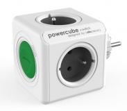 Rozbočovací zásuvka Powercube Original Switch, 4x zásuvka - šedá/bílá/zelená